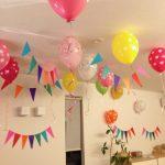 ゴム風船で子ども(2歳女の子)の誕生日飾り